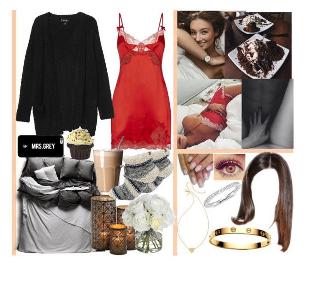 """""""cozy sunday 💤"""" by momochen95 ❤ liked on Polyvore featuring Agent Provocateur, Matteo, Diane James, Kate Spade, Blue Nile, Cartier, Monki and Urban Knit"""