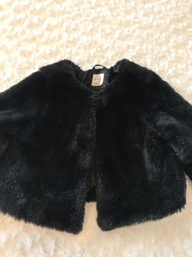 690e9e2ccb25 Baby Gap Infant Girls Black Faux Fur Coat Size 2T EUC  fashion ...