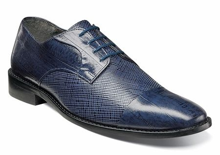 Stacy Adams Blue Leather Lizard Texture Shoes 25051-400 OS - click to  enlarge