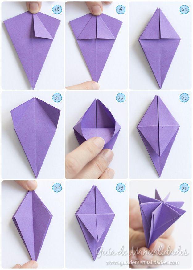 Cómo hacer un lirio de agua de origami is part of Origami -