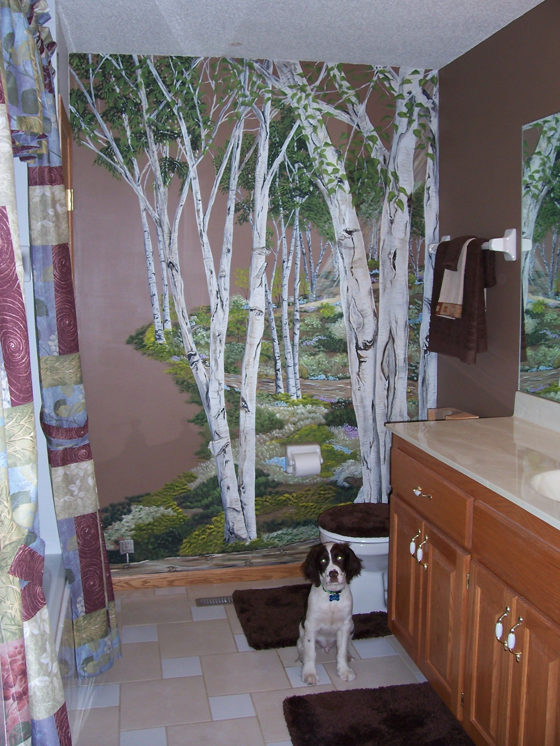 Birch tree wall mural for downstairs bath decor and for Birch wall mural