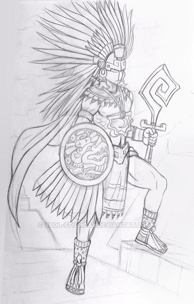 Guerrero Quetzalcoatl By Xsol Studiosx Aztec Art Aztec Drawing Warrior Drawing