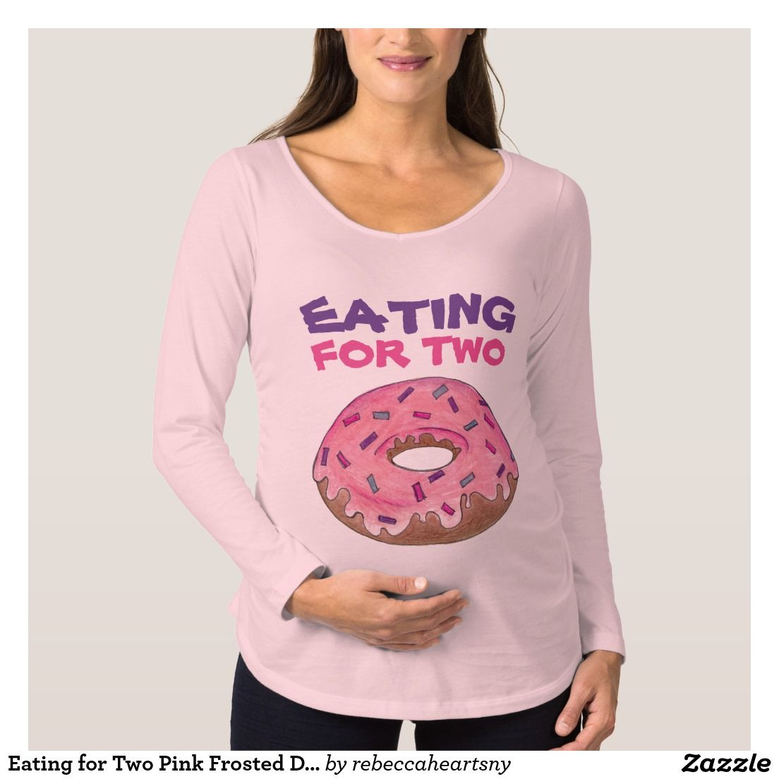 aee9ba41a Eating for Two Pink Frosted Donut Baby Maternity T Maternity T-Shirt ...