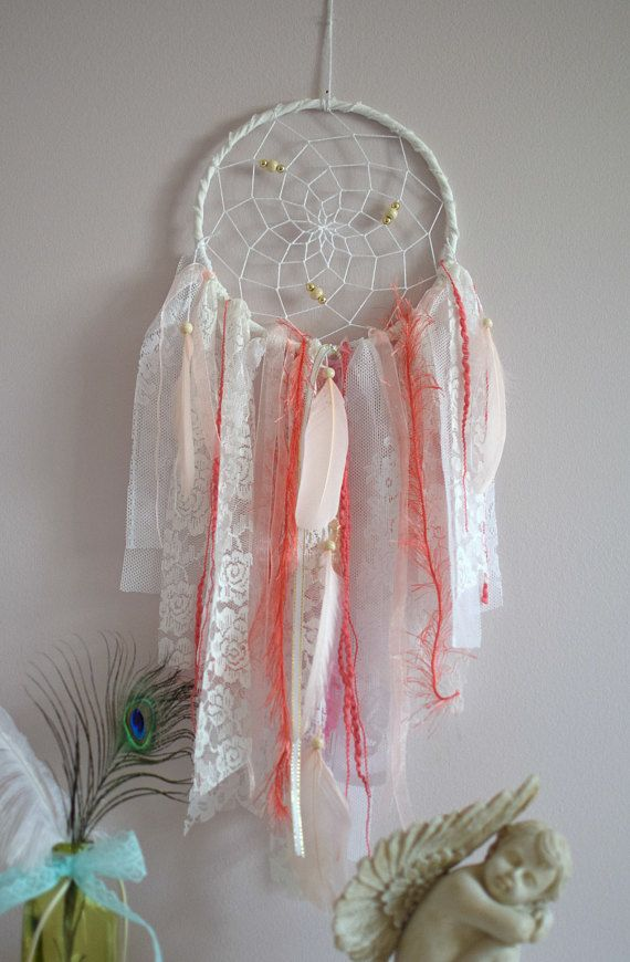 Dentelle dream catcher rose corail nursery d cor tenture murale dentelle dreamcatcher shower - Tenture chambre bebe ...