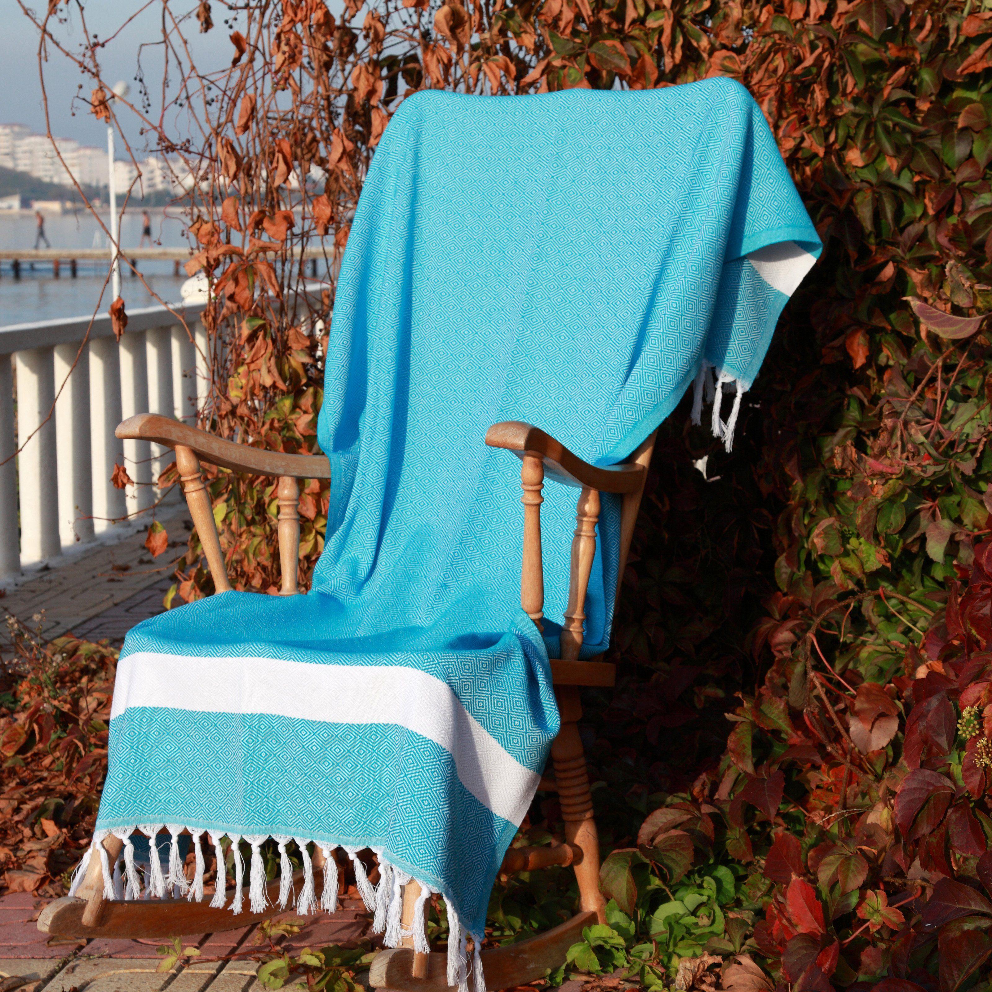Aqua Blue Diamond Weave Oversized Peshtemal Fouta Bath or Beach Turkish Towel