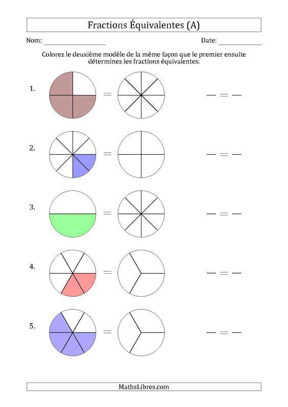 La fiche d\'exercices de maths « Fractions Équivalentes à l\'Aide des ...
