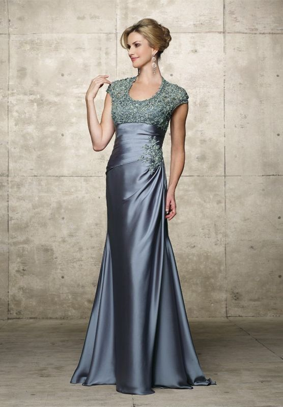 Satin and Lace Scoop Mermaid Long Mother Of The Bride Dress - Mother ...