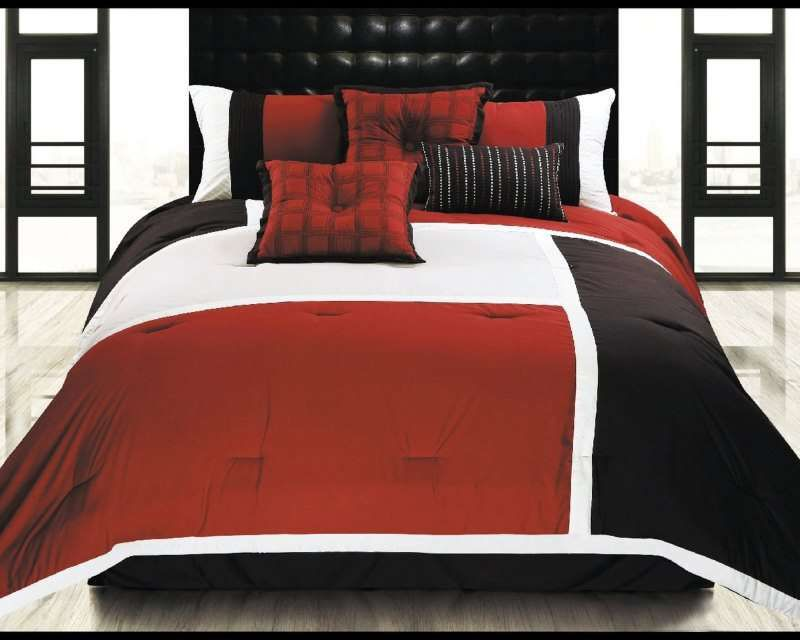 Hallmart Color Blocks Spice Comforter Set 129 99 From Bedding Com Red Black