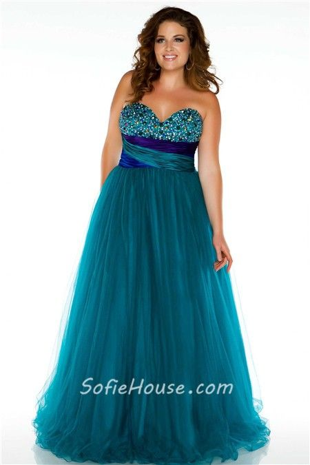 3ab15c71a67 Royal A Line Strapless Empire Waist Long Purple Tulle Beaded Plus Size Prom  Dress