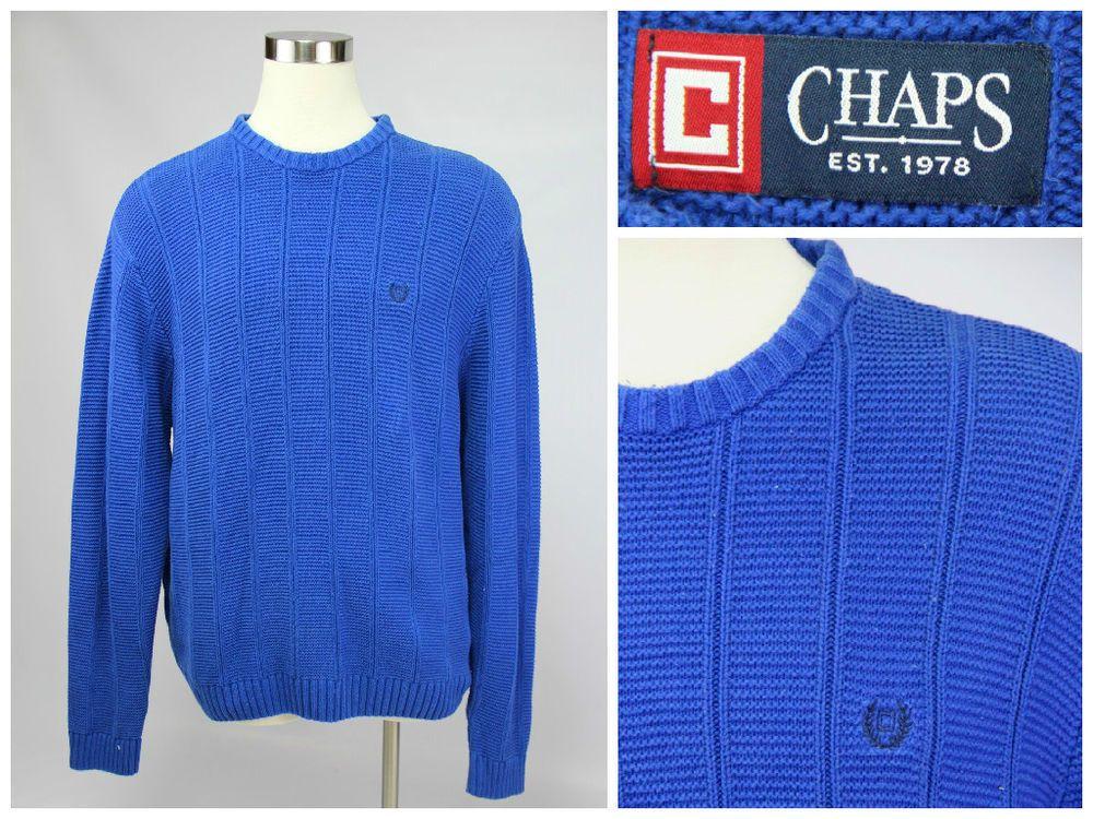 Chaps Men's Size XXL 2XL Dark Royal Blue Long Sleeve Crewneck Cable Knit Sweater #Chaps #Crewneck