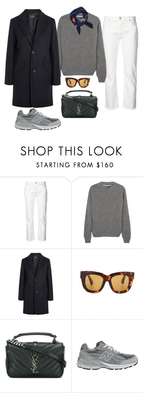 """Untitled #1812"" by mmooa ❤ liked on Polyvore featuring Nili Lotan, The Elder Statesman, A.P.C., Acne Studios, Yves Saint Laurent and New Balance"