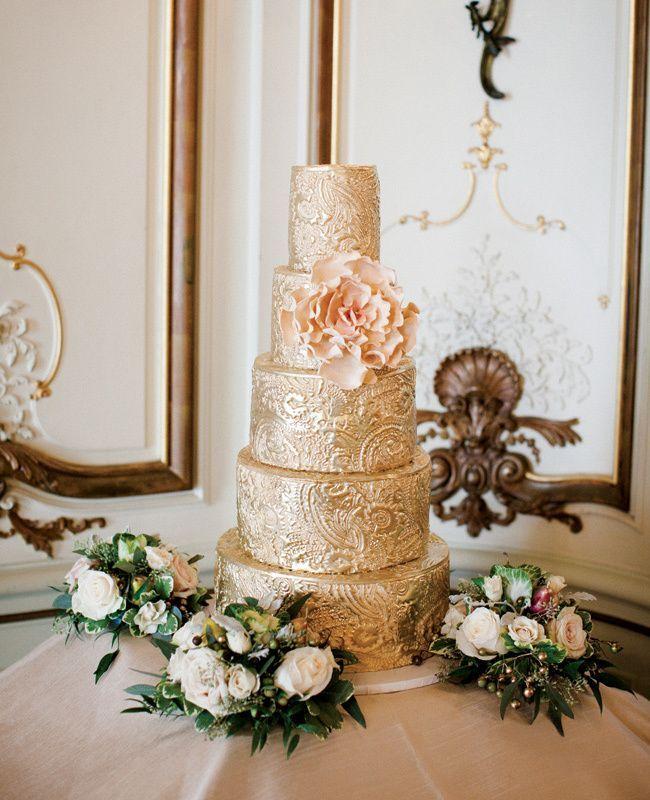 gold wedding cake http://trendybride.net/pretty-in-pink-glam-in-gold-wedding-cakes/ #weddingcakes