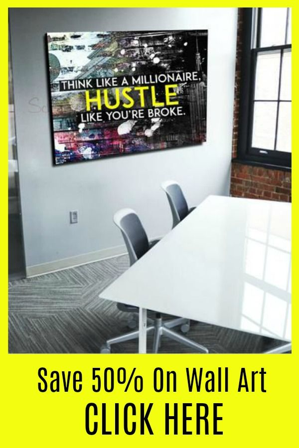 Business Wall Art: Think Like A Millionaire Canvas Hustle (Wood ...