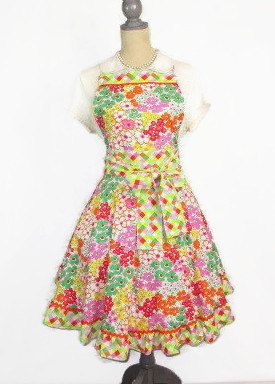 Bright Floral and Plaid Swing Skirt Style Full by TheSapphireKey