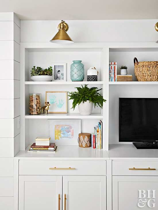 A Coastal Main Floor Makeover With Character Built In Wall Units Wall Unit Decor Bookshelves Built In