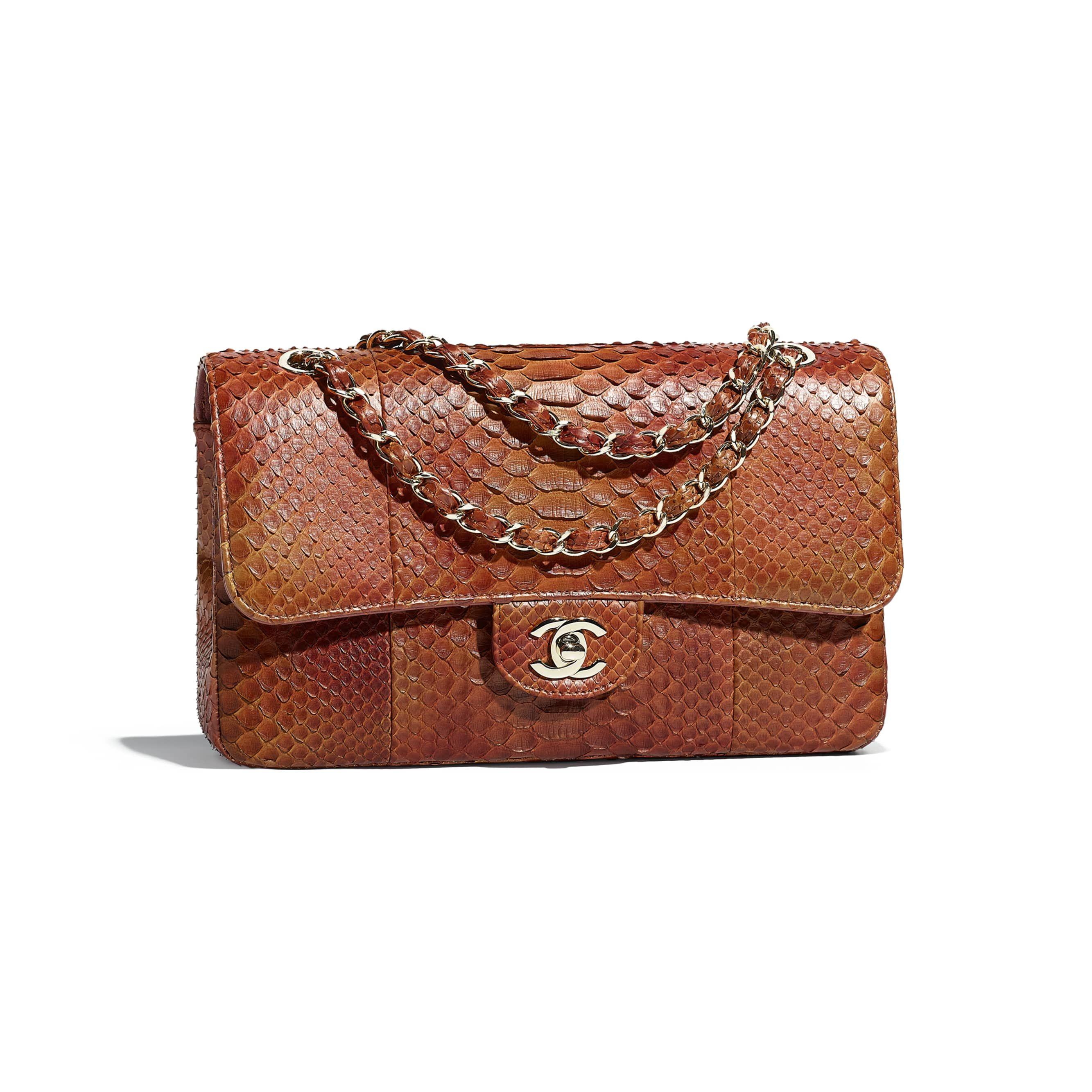 Chanel - Python   gold-tone metal dark orange classic handbag ( 10 d50fbba92c6cc