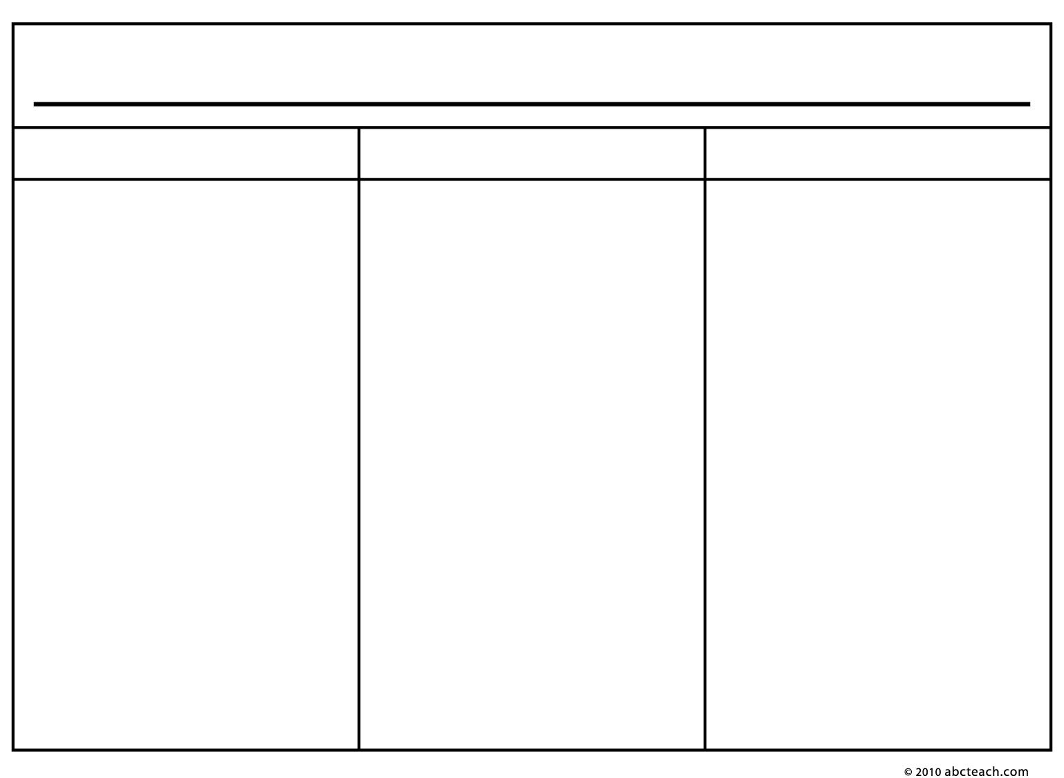 3 Column Table Chart Template