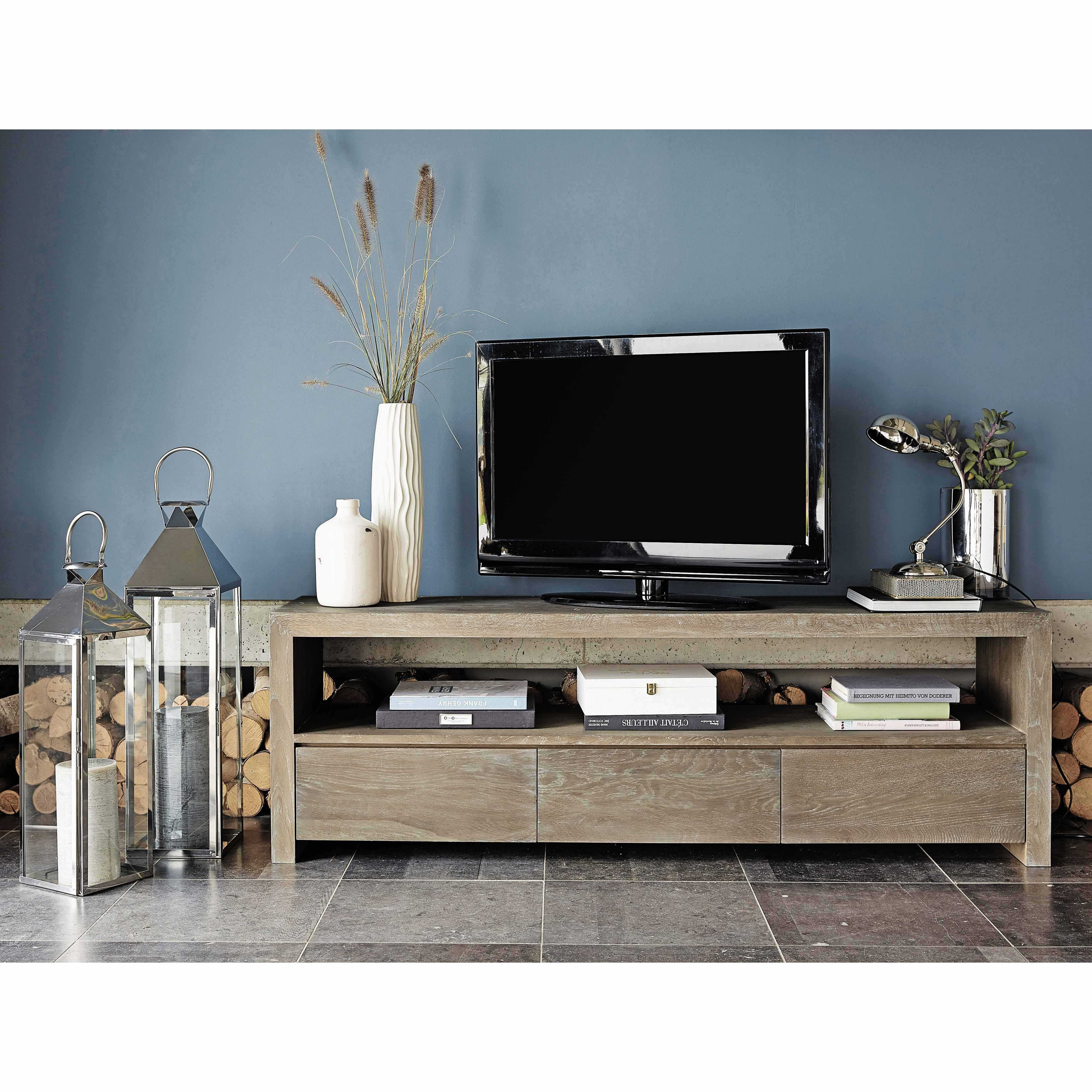 Mueble de tv con 3 cajones muebles de tv tv y roble macizo for Maison du monde 5 bd montmartre