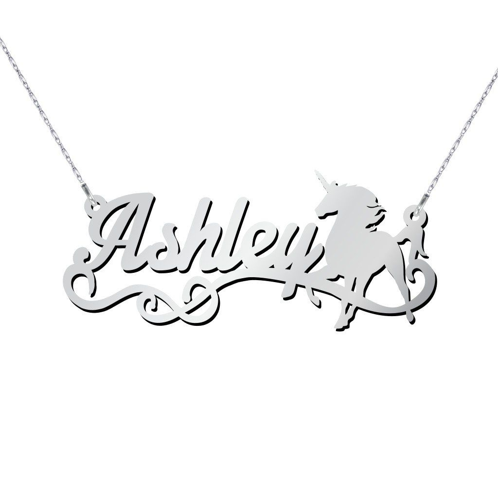 10K Gold Unicorn Personalized Name Necklace by JEWLR