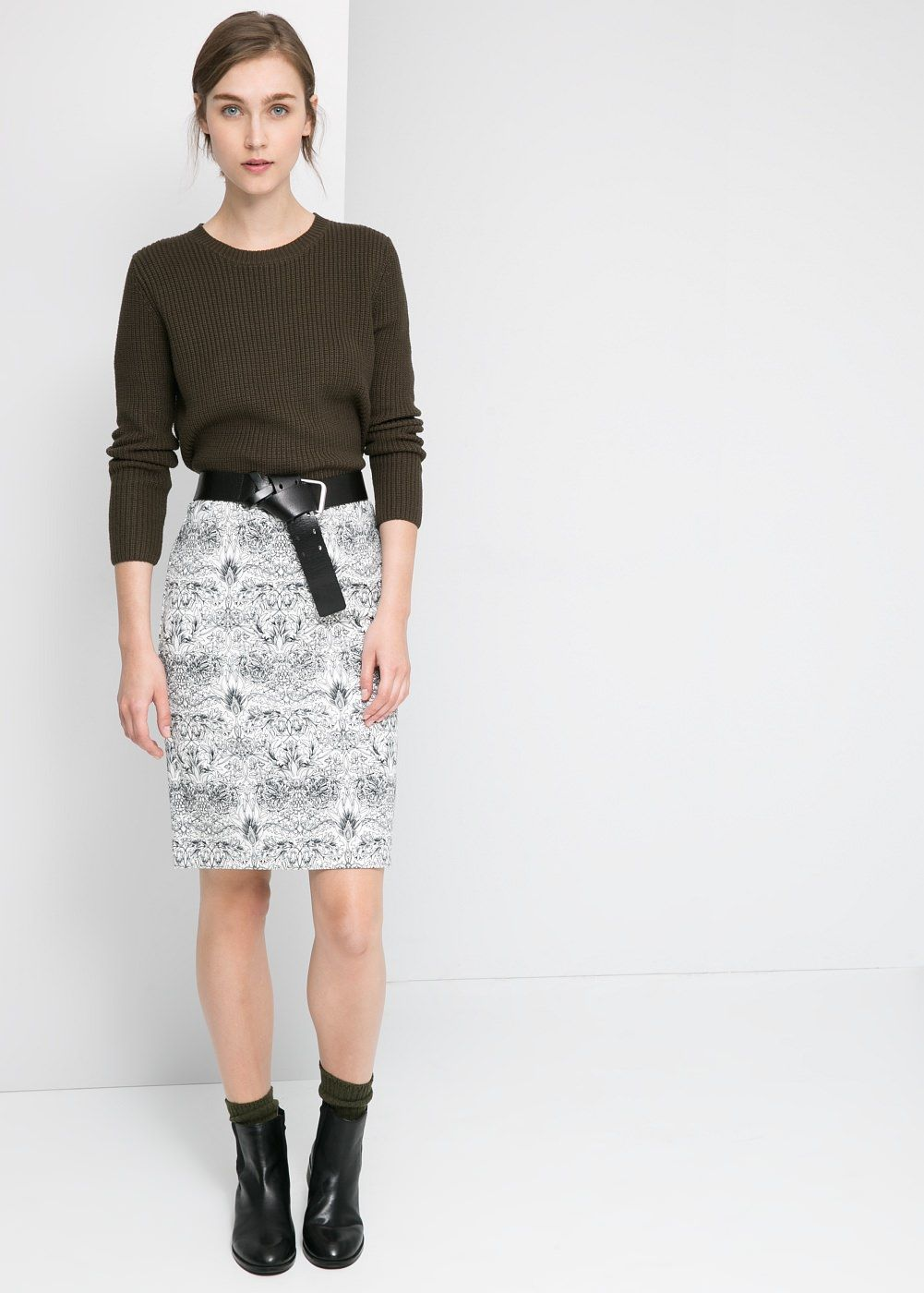 db8c5e24a7d223 Neoprene-effect printed skirt Cheap Midi Skirts, Printed Skirts, Printed  Pencil Skirt,