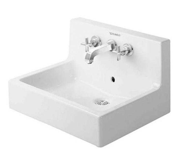 Vero Wall Mounted Washbasin 23 5 8 With Backsplash With Overflow Dra Showroom Sinks Wall Mounted Bathroom Sinks Wall Mounted Sink Porcelain Bathroom Sink