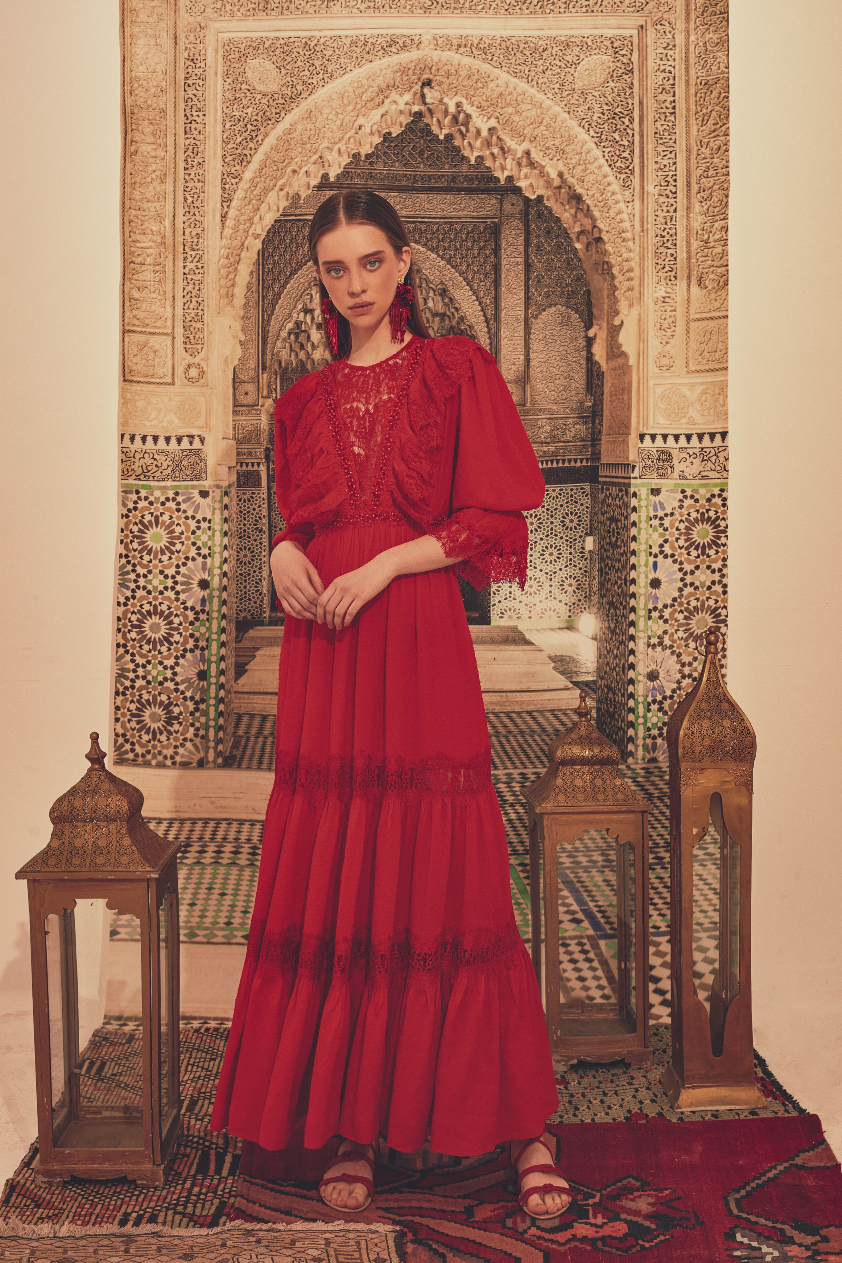 Red Cupro Maxi Dress With Lace Details By Erkan Demiroglu