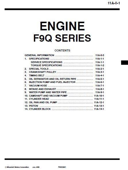 new post mitsubishi engine f9q series workshop manual has been