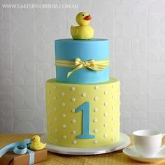 """baby ducky birthday cake - perfect for EM who LOVES her bath time """"ducky family"""""""