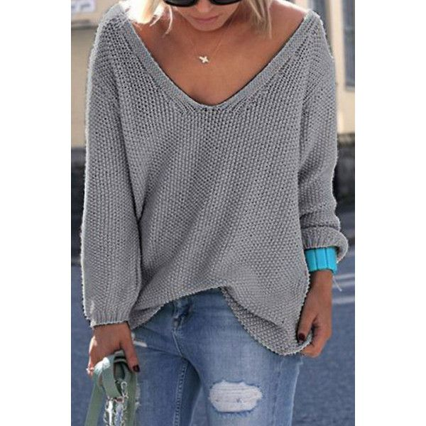 Yoins Classic Design Grey Long Sleeves Loose Plunge Sweater ($22) ❤ liked on Polyvore featuring tops, sweaters, grey, long sleeve tops, oversized jumper, gray sweater, long sleeve jumper and grey long sleeve sweater