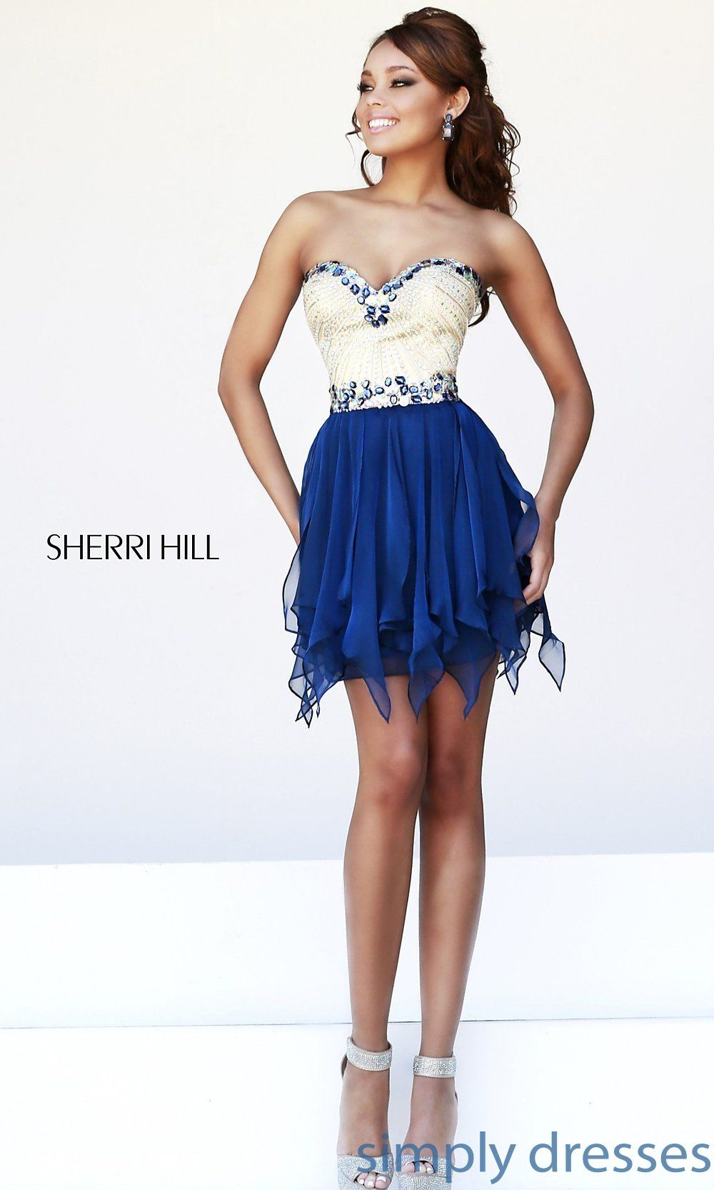 Sherri hill short homecoming dress strapless homecoming dresses