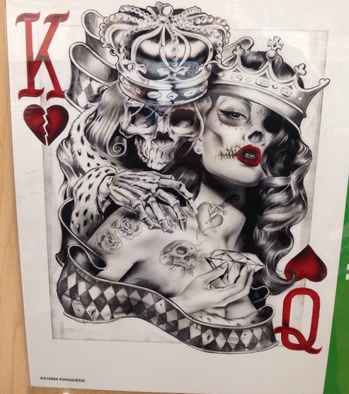 Skeleton King With Queen Of Hearts Card Shirt Choose Size