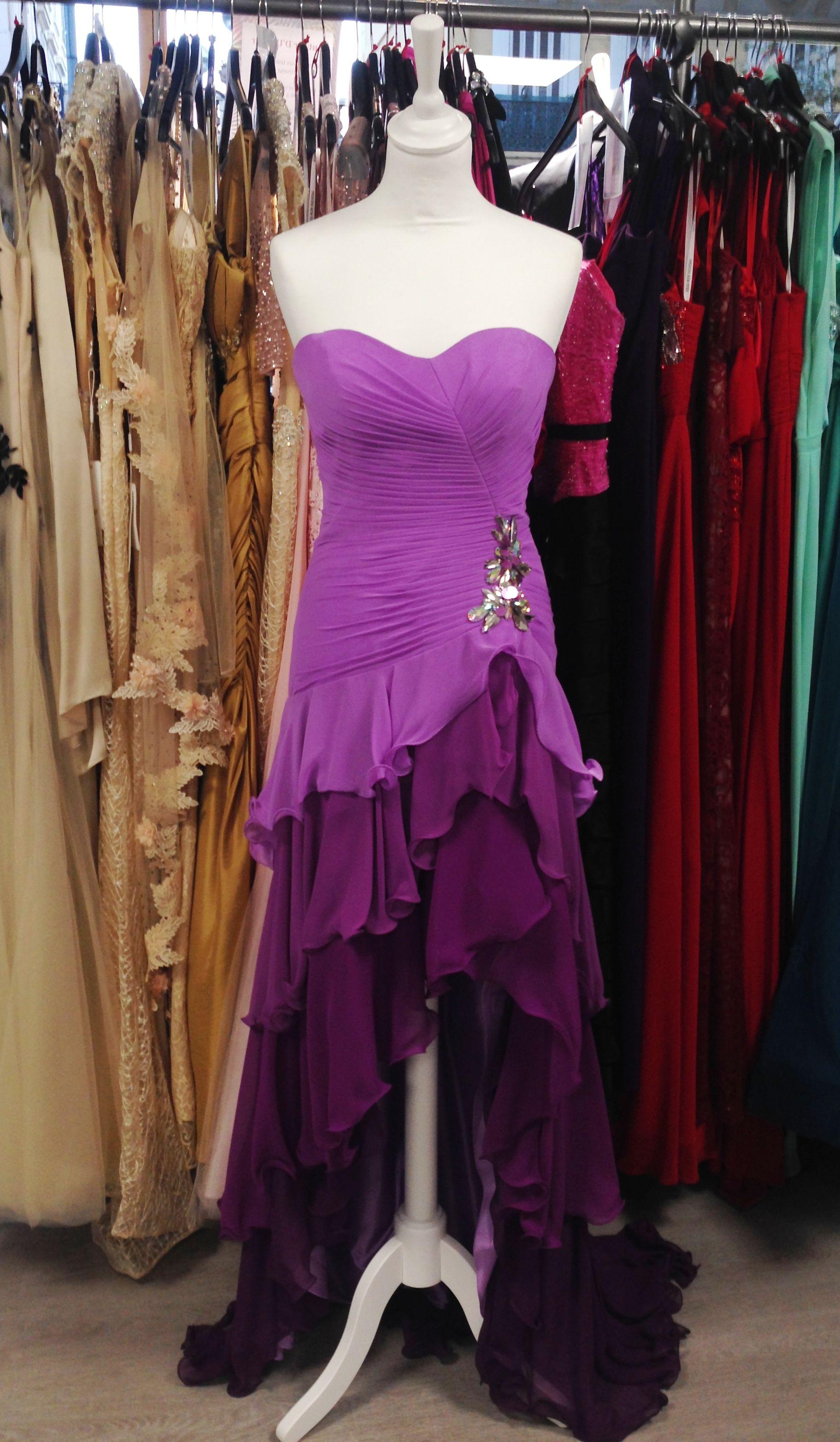 robe longue bustier coupe mulet asym trique courte devant longue derri re volants d grad de