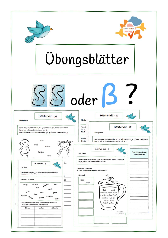 Wann wird ein Wort mit - ss und wann wird es mit - ß geschrieben?Mit dieser Frage beschäftigen sich die Übungsblätter. Mit sinnvollen Übungen sollen die Kinder so lernen, wann Wörter mit -ss und wann mit -ß geschrieben werden.