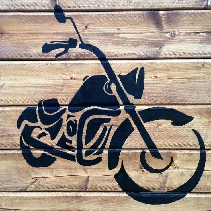Motorcycle Silhouette wood sign mancave sign #burnedwoodstenciling