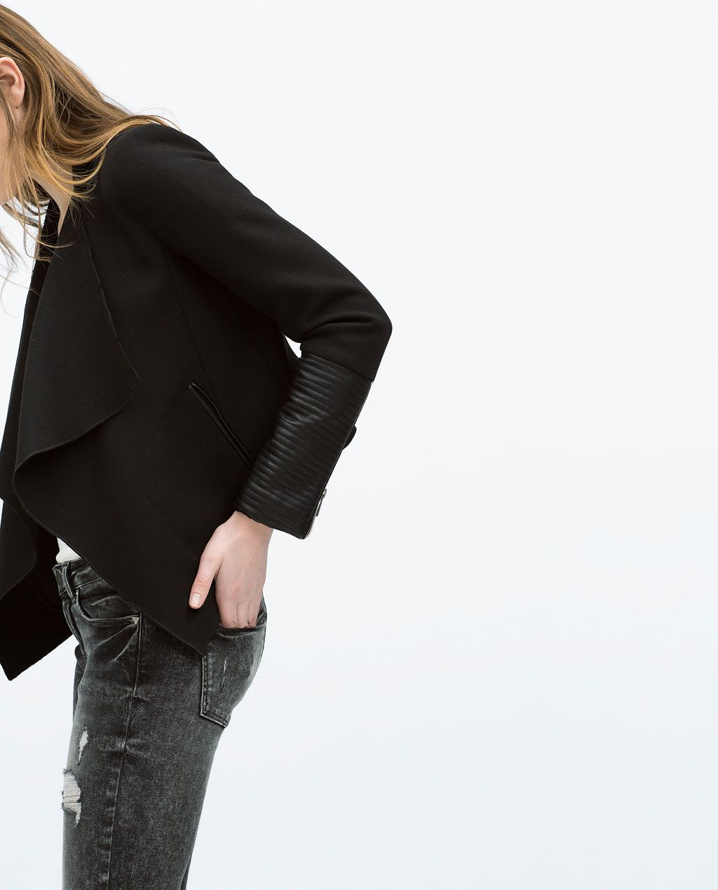 Image 3 of MIXED FABRIC JACKET from Zara | SS15 | Pinterest | Chaquetas