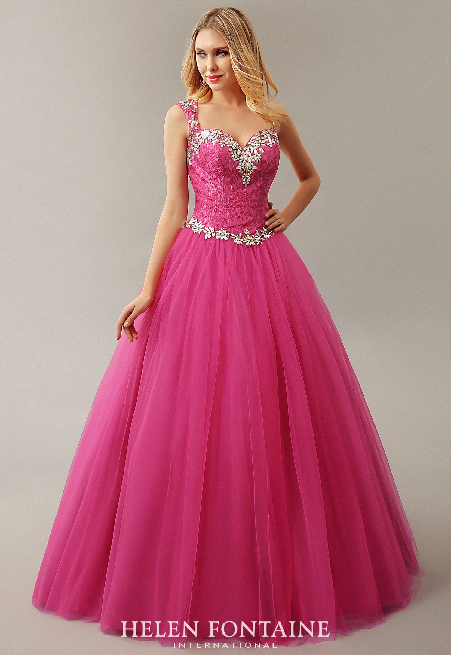 Fuchsia long crystals tulle corset ball gown princess prom dresses