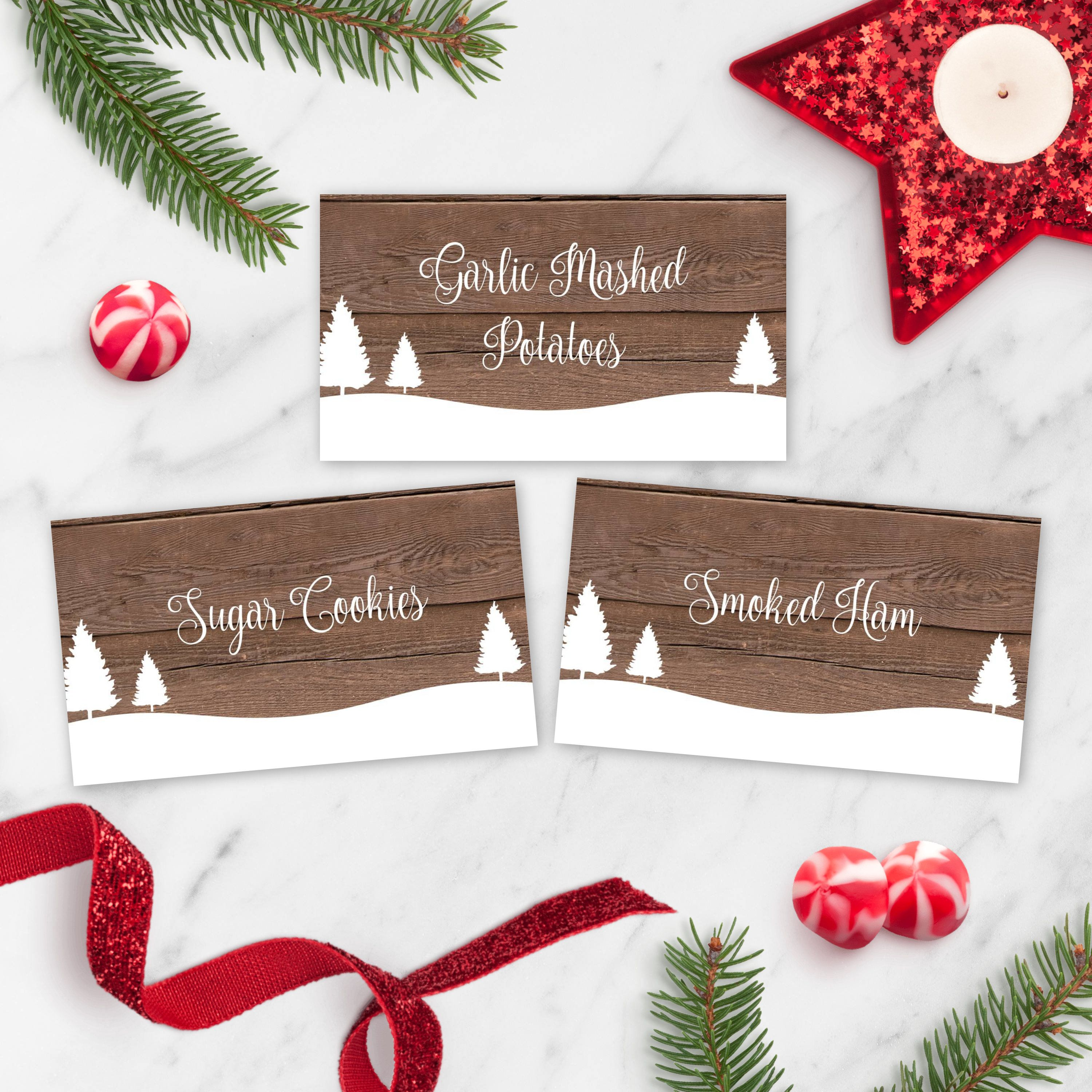 Holiday Party Buffet Cards Rustic Christmas Food Tent Card Etsy Holiday Party Buffet Tent Cards Christmas Party Table