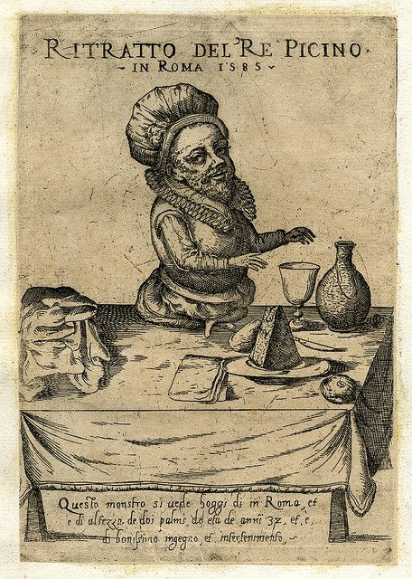 King Picino seated on a table with deformed legs. Engraving by Giovanni Battista de' Cavalieri, Italy, 1585