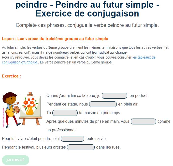 Exercice De Conjugaison Peindre Au Futur Simple Futur Simple Exercices Conjugaison Conjugaison
