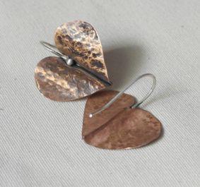 handmade copper folded earrings