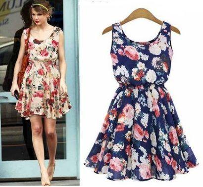 vestidos de verão floridos Taylor Swift