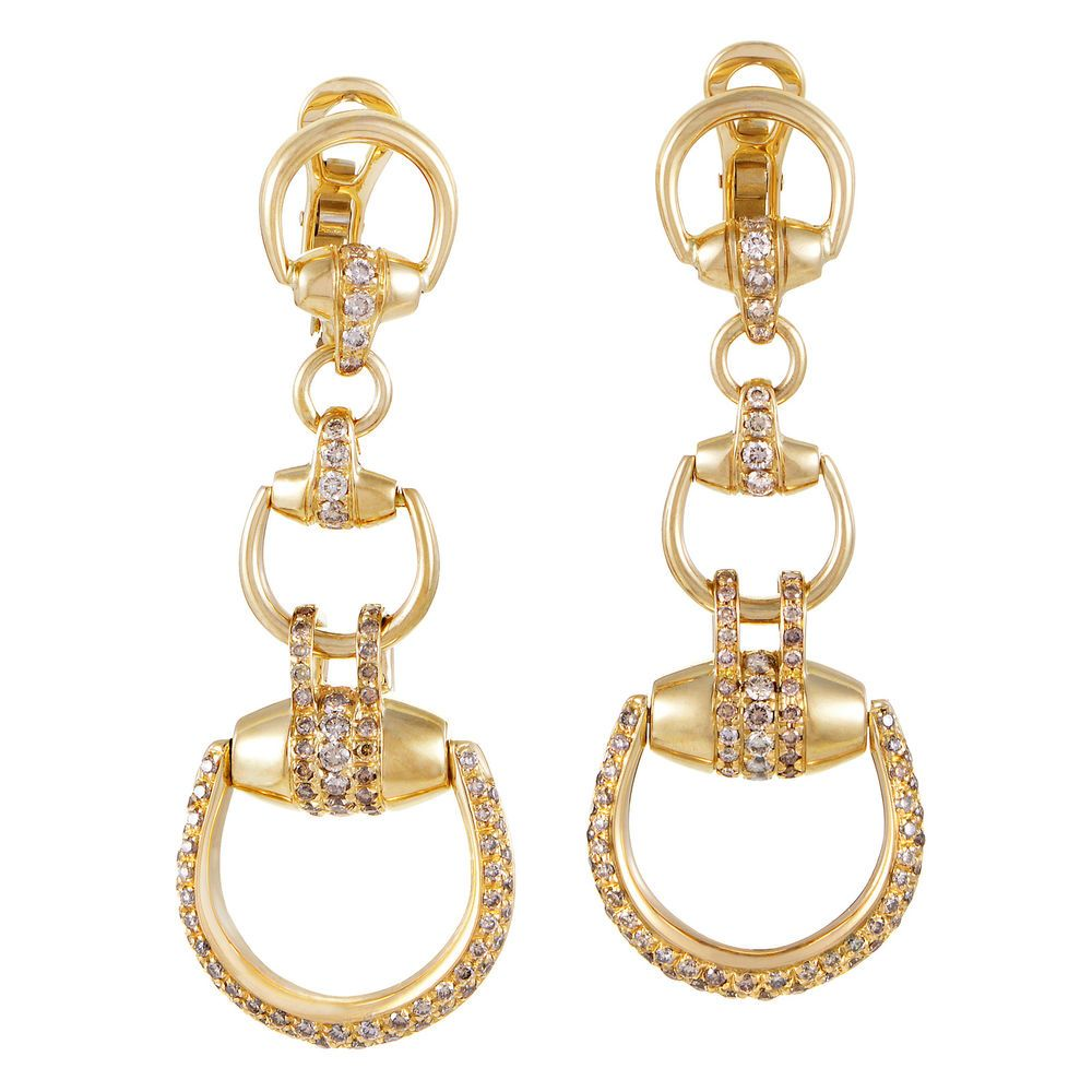 d8e910752c8 Gucci Horsebit Beverly Womens 18K Yellow Gold Diamond Drop Earrings  Gucci