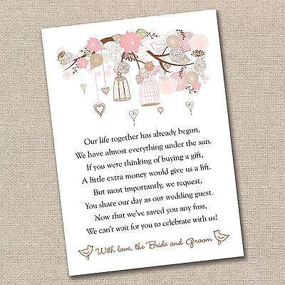 Wedding Poem Cards For Your Invitations Vintage Floral Birdcages Money Cash Gift
