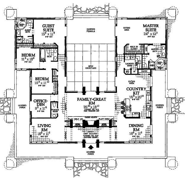 Prairie Style House Plan 5 Beds 3 5 Baths 3278 Sq Ft Plan 72 179 Courtyard House Plans U Shaped Houses U Shaped House Plans