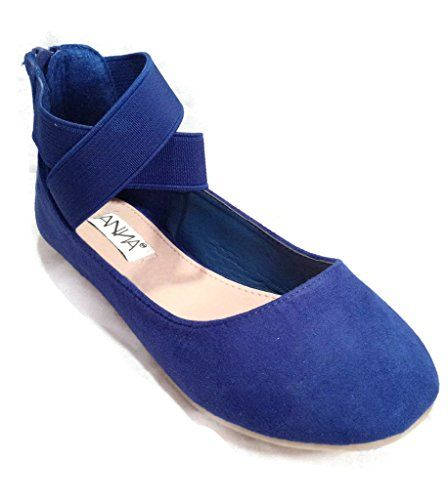 Anna Girl Kids Dress Ballet Flat Elastic Ankle Strap Comfortable Ballerina Synthetic Suede Shoes -- Click on the image for additional details.