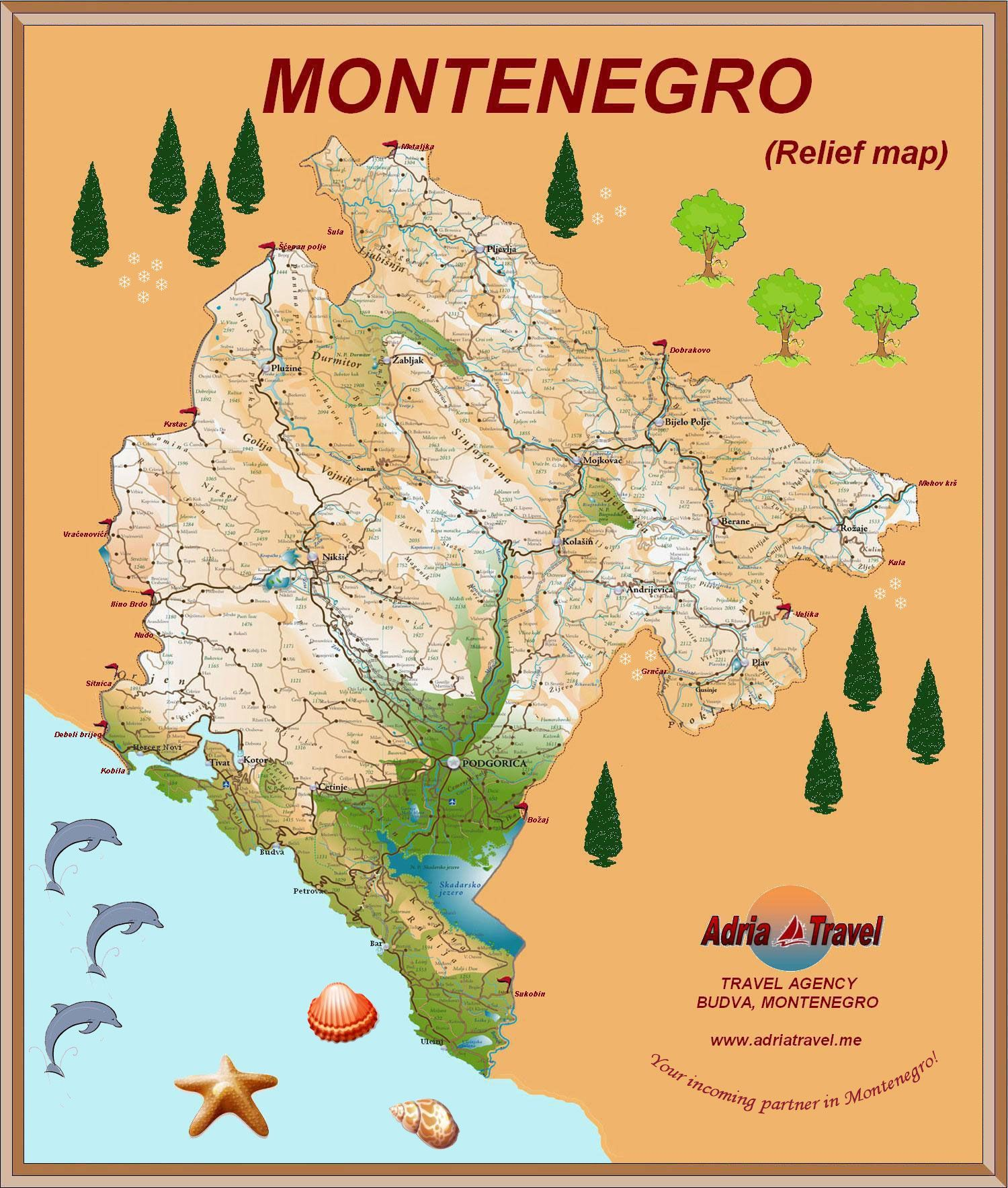 Montenegro Mapa Crne Gore Jpg 1500 1768 Relief Map Travel