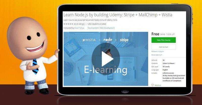 [100% Off] Learn Node.js by building Udemy: Stripe + MailChimp + Wistia| Worth 110$