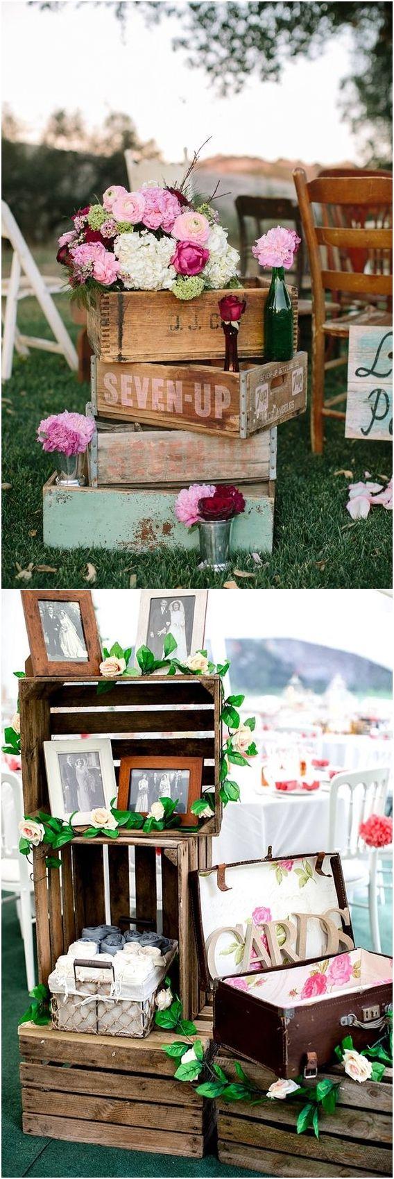 Latest wedding decorations 2018  Rustic Woodsy Wedding Trend  Wooden Crates  Woodsy wedding