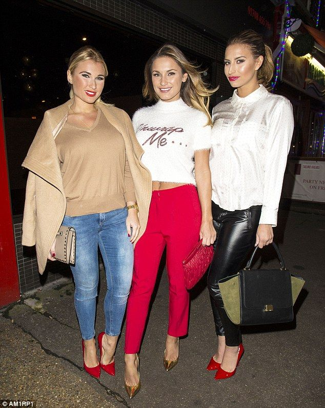 Lovely trio: Sam Faiers made a cheeky invitation to her admirers as she stepped out with h...