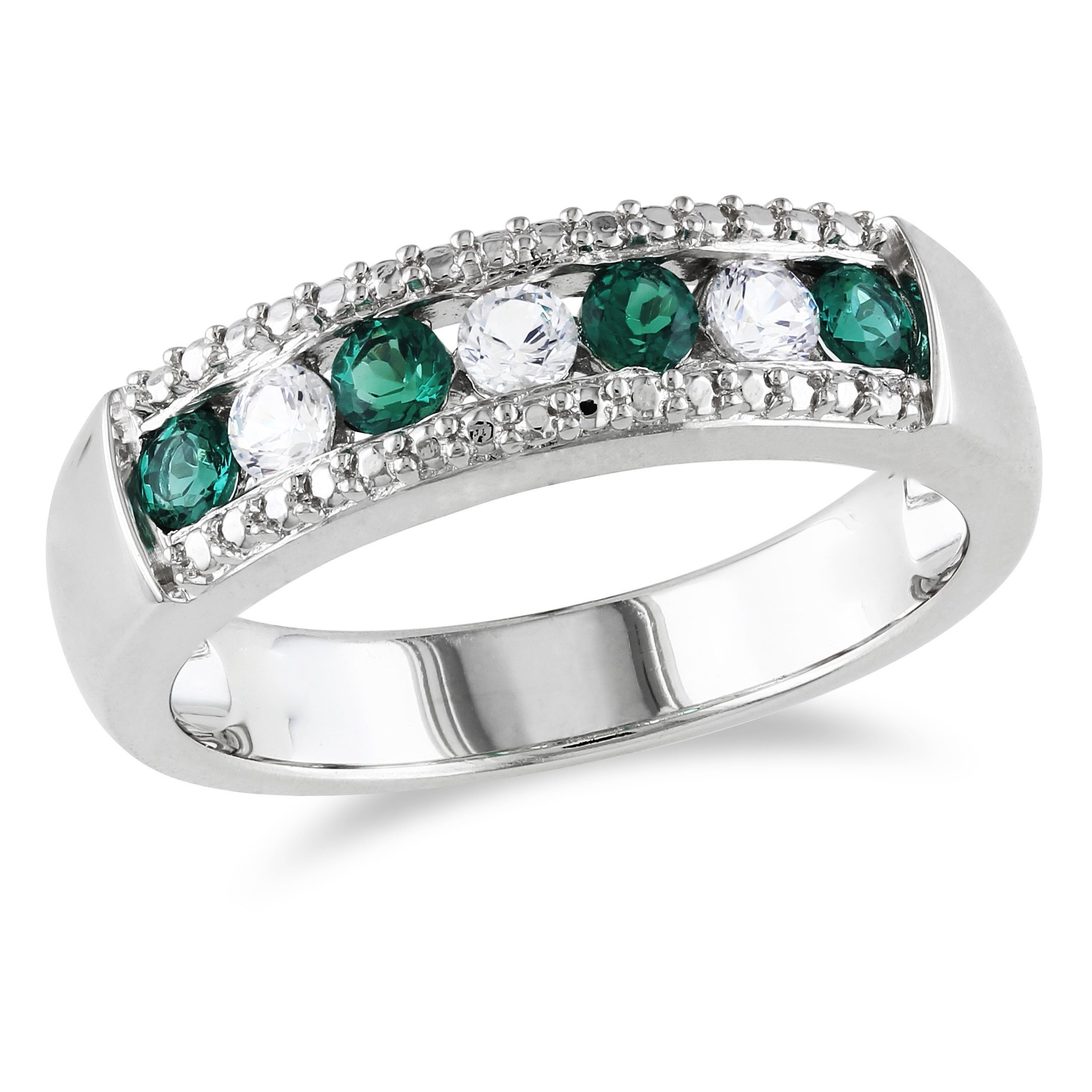 cut shank emerald pave wedding green in silhouette platinum three and uneek center stone ring with
